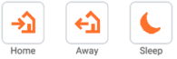icons representing different states of you being at home, being away, or being asleep