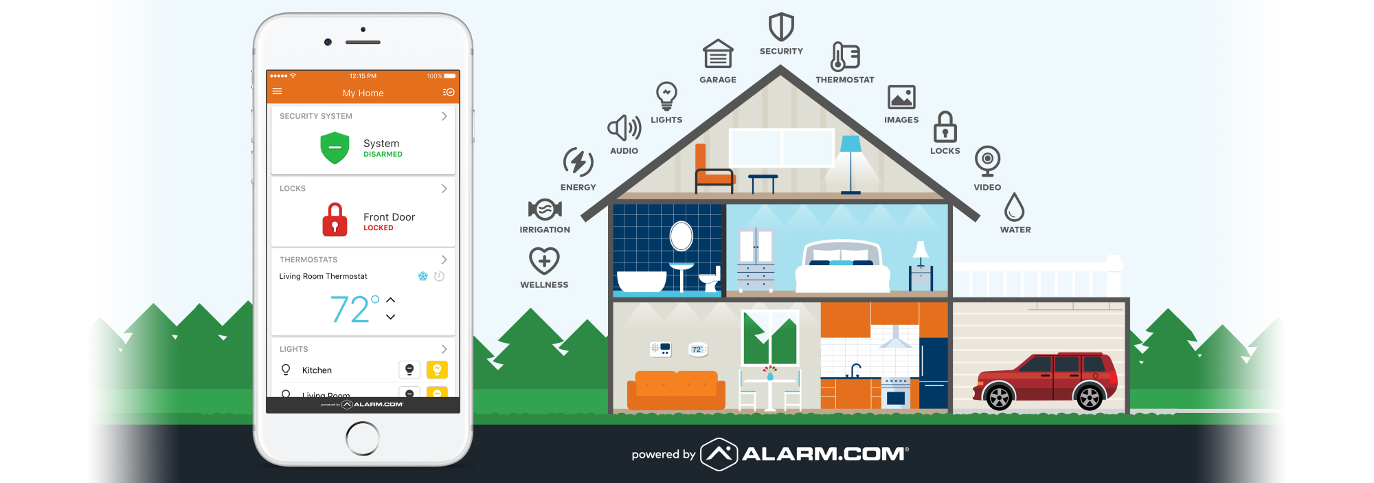 an image showing how the alarm.com app can help you secure your home